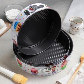 "A set of baking dish with split a/C coating ""Cute pastry chef"" 3 piece 28/26/24x7 cm"