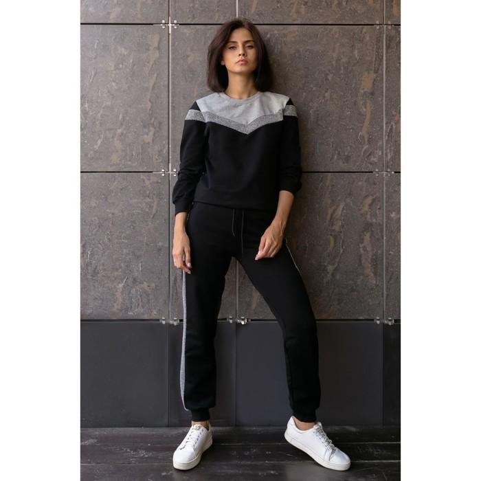 Костюм женский (толстовка, брюки) р-р 42 Черный, длинный рукав