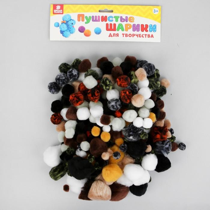 """Набор текстильных деталей для декора """"Бомбошки животные"""" 300 шт., 5 размеров, цвета МИКС"""