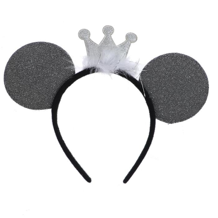 """Carnival headband """"Ears"""" with a crown, silver color"""