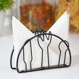 Салфетница Доляна «Столовые приборы»,13×3,5×8 см, цвет чёрный