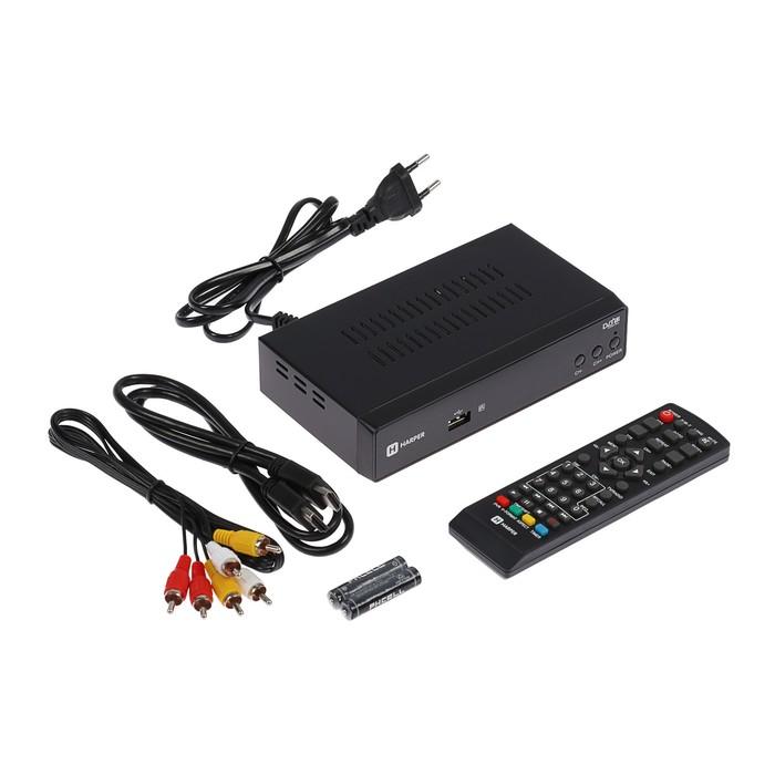 Приставка для цифрового ТВ Harper HDT2-5050, FullHD, DVB-T2, дисплей, HDMI, RCA, USB, черная