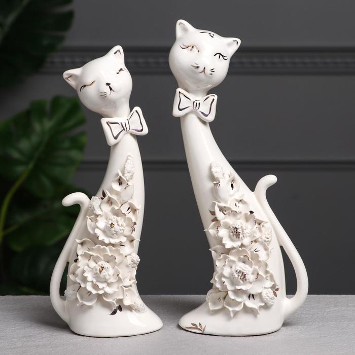 """Набор статуэток """"Коты сладкая парочка"""", белая лепка, 28 см"""