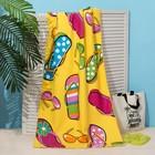 Полотенце пляжное Этель 70*140 см, Сандали на жёлтом, микрофибра 250гр/м2