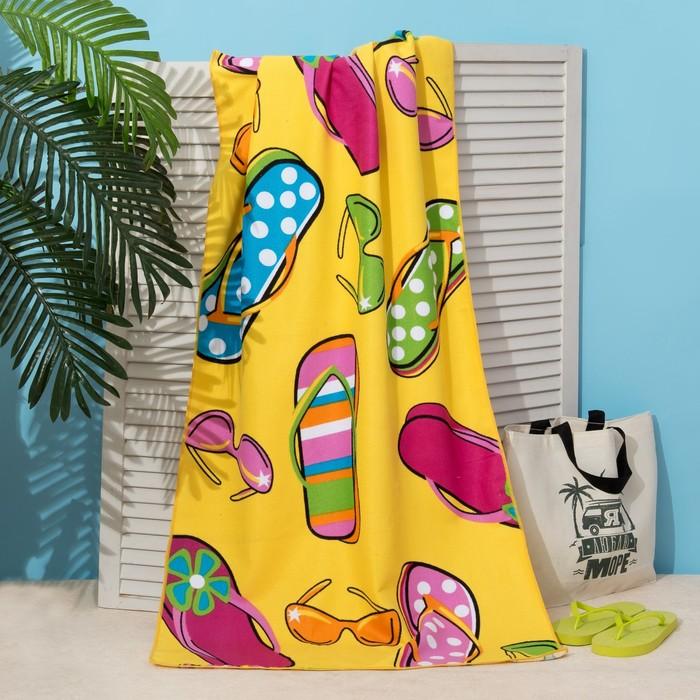 Полотенце пляжное Этель «Сандалии» на жёлтом, 70х140 см