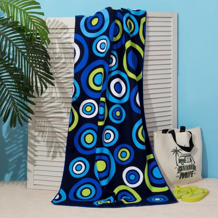 Полотенце пляжное Этель 70*140 см, Синие круги, микрофибра 250гр/м2