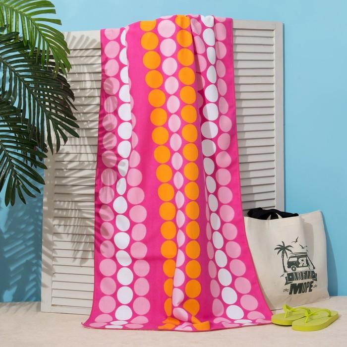 Полотенце пляжное Этель 70*140 см, Круги на розовом, микрофибра 250гр/м2