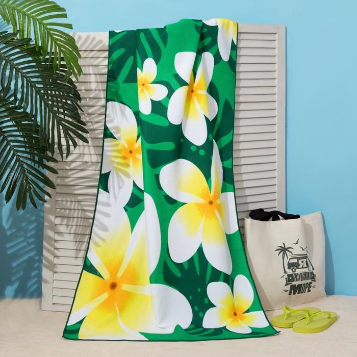 Полотенце пляжное Этель 70*140 см, Цветы на зеленом, микрофибра 250гр/м2