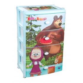 Комод детский «Маша и Медведь», широкий, 4-х секционный