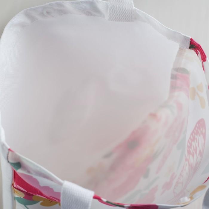 Сумка текстильная, отдел на кнопке, без подклада, цвет розовый/жёлтый