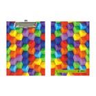 Планшет с зажимом А5 ламинированный картон «Кубики»