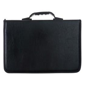 Папка деловая, искусственная кожа, 360 х 260 х 30 мм, «Лайт», Канцбург, зажим, ручка-трансформер, чёрная