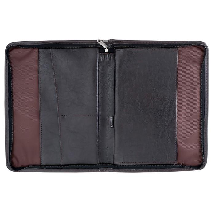 Пaпка деловая, искусственная кожа, 360х260х30 мм, Люкс, коричневая - фото 418335734