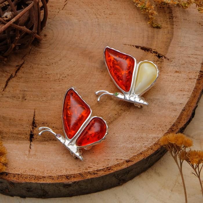 """Брошь посеребрение """"Янтарь"""" бабочка со сложенными крыльями, цвет МИКС"""