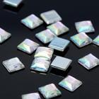 Стразы плоские квадрат, 8*8 мм, (набор 20шт), цвет радужный