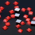 Стразы плоские квадрат, 6*6 мм, (набор 30шт), цвет ярко-красный