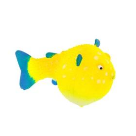 Флуоресцентная аквариумная декорация Gloxy, рыба шар на леске желтая, 8х5х5,5 см