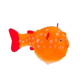Флуоресцентная аквариумная декорация Gloxy, рыба шар на леске оранжевая, 8х5х5,5 см