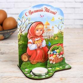 Пасхальный Настольный сувенир со свечой «С Великой Пасхой!», 11,3 х 13,5 см