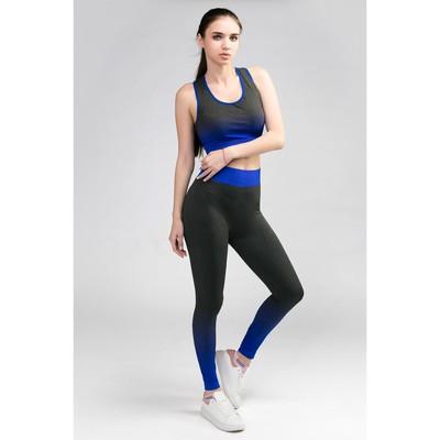 Женский костюм топ+легинсы, р. 42-44, цв. синий градиент, 88% полиамид, 12% эластан