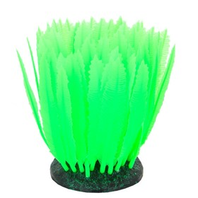 Флуоресцентная аквариумная декорация Gloxy, морская лилия зеленая, 10х7,5х11см