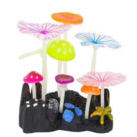 Флуоресцентная аквариумная декорация Gloxy, 5 грибов и 4 листа лотоса, 10х7,5х11 см