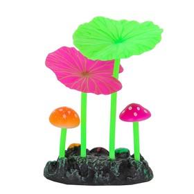 Флуоресцентная аквариумная декорация Gloxy, 2 гриба и 2 листа лотоса, 7,3х3,5х10,7 см