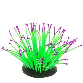 Флуоресцентная аквариумная декорация Gloxy, морской анемон зеленый, 9,5х8,5х9 см