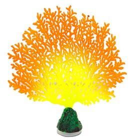 Флуоресцентная аквариумная декорация Gloxy, коралл веерный оранжевый, 13,5х3х16 см