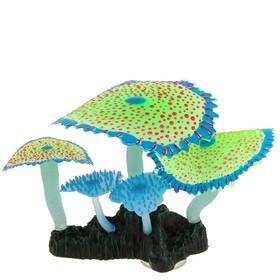 Флуоресцентная аквариумная декорация Gloxy, кораллы зонтичные зеленые, 14х6,5х12 см