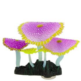 Флуоресцентная аквариумная декорация Gloxy, кораллы зонтичные фиолетовые, 14х6,5х12 см