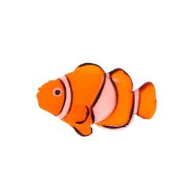 Флуоресцентная аквариумная декорация Gloxy, рыба клоун на леске, 7х2,5х4 см