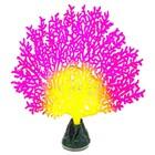 Флуоресцентная аквариумная декорация Gloxy, коралл веерный розовый, 13,5х3х16 см