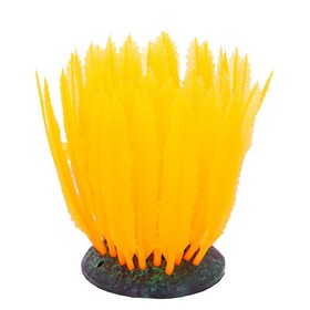 Флуоресцентная аквариумная декорация Gloxy, морская лилия оранжевая, 10х7,5х11 см