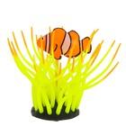 Флуоресцентная аквариумная декорация Gloxy, рыба клоун в анемоне желтая, 11х8х12 см