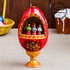 Сувенир музыкальный «Яйцо с храмами», 25 см, красный