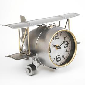"""Часы настольные, серия: Транспорт,""""Самолёт с двойными крыльями"""",15 х 20 см, d=10 см"""