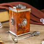 """Сувенир из бронзы и янтаря """" Коробочка для чая с ложкой """"Цезарь"""""""