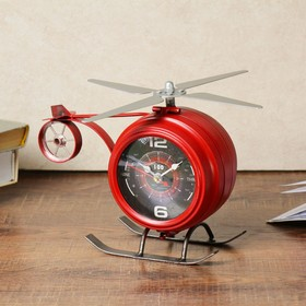 "Часы настольные, серия: Транспорт, ""Красный вертолёт"", 22х10.5х15 см"