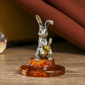 "Souvenir ""happy Bunny with carrot"", bronze, amber, 5 cm"