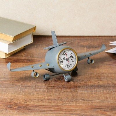 "Часы настольные, серия: Транспорт, ""Самолет серый"", с золотым кантом, 41х8х17 см"