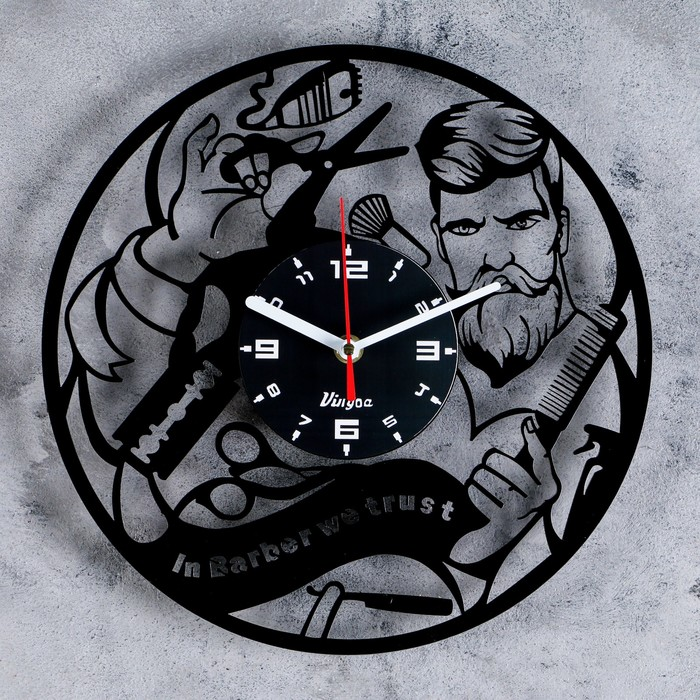 """Часы настенные, серия: Интерьер: """"Барбершоп"""", 30х30 см"""