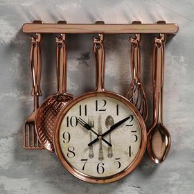 """Часы настенные, серия: Кухня, """"Столовые приборы"""", бронза, 30 × 33 см"""