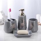 Набор аксессуаров для ванной комнаты Bonjour, 4 предмета (дозатор 400 мл, мыльница, 2 стакана) - фото 4649761