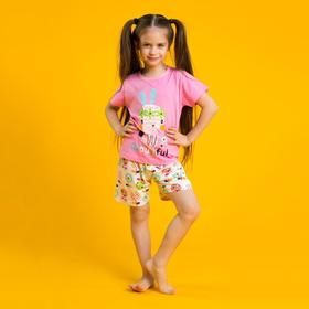 """Пижама для девочки """"Beautiful"""", рост 104-110 см, цвет розовый"""