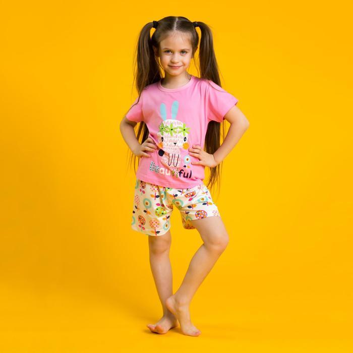 """Пижама для девочки """"Beautiful"""", рост 104-110 см, цвет розовый - фото 76623594"""