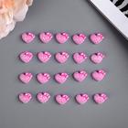 """Декор для творчества пластик """"Розовое сердце с бантом"""" перламутр набор 20 шт 1,1х1,4 см"""