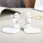 "Polyresin souvenir candle holder ""White angel with ball rhinestone"" MIX 7,5х8х7,3 cm"