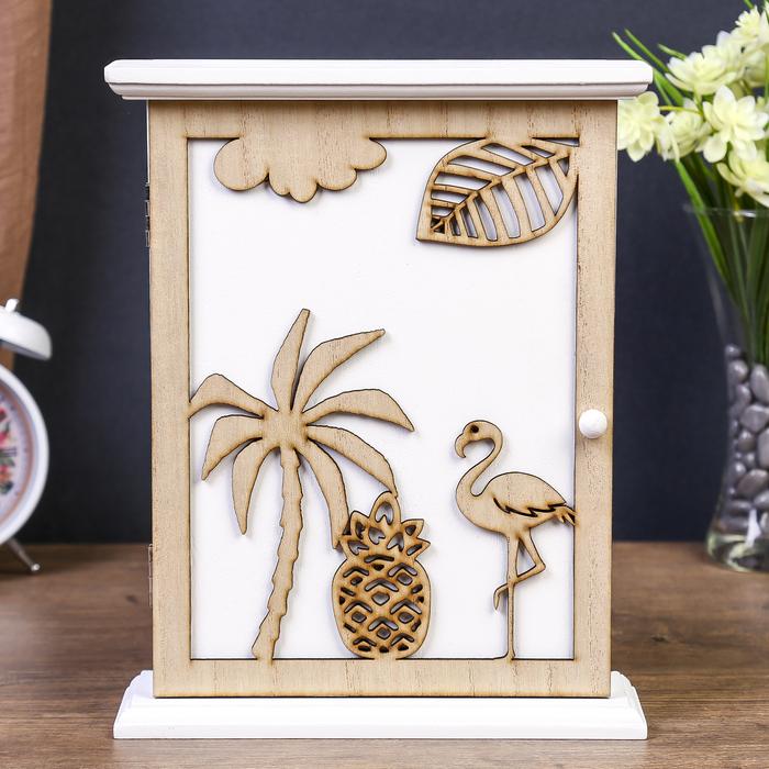 """Ключница дерево 6 крючков """"Фламинго и пальма"""" коричневая 26,5х21х6,8 см"""