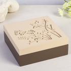 Шкатулка «Бабочки в разнотравье», дерево, цвет кофе с молоком, 6 × 16 × 16 см